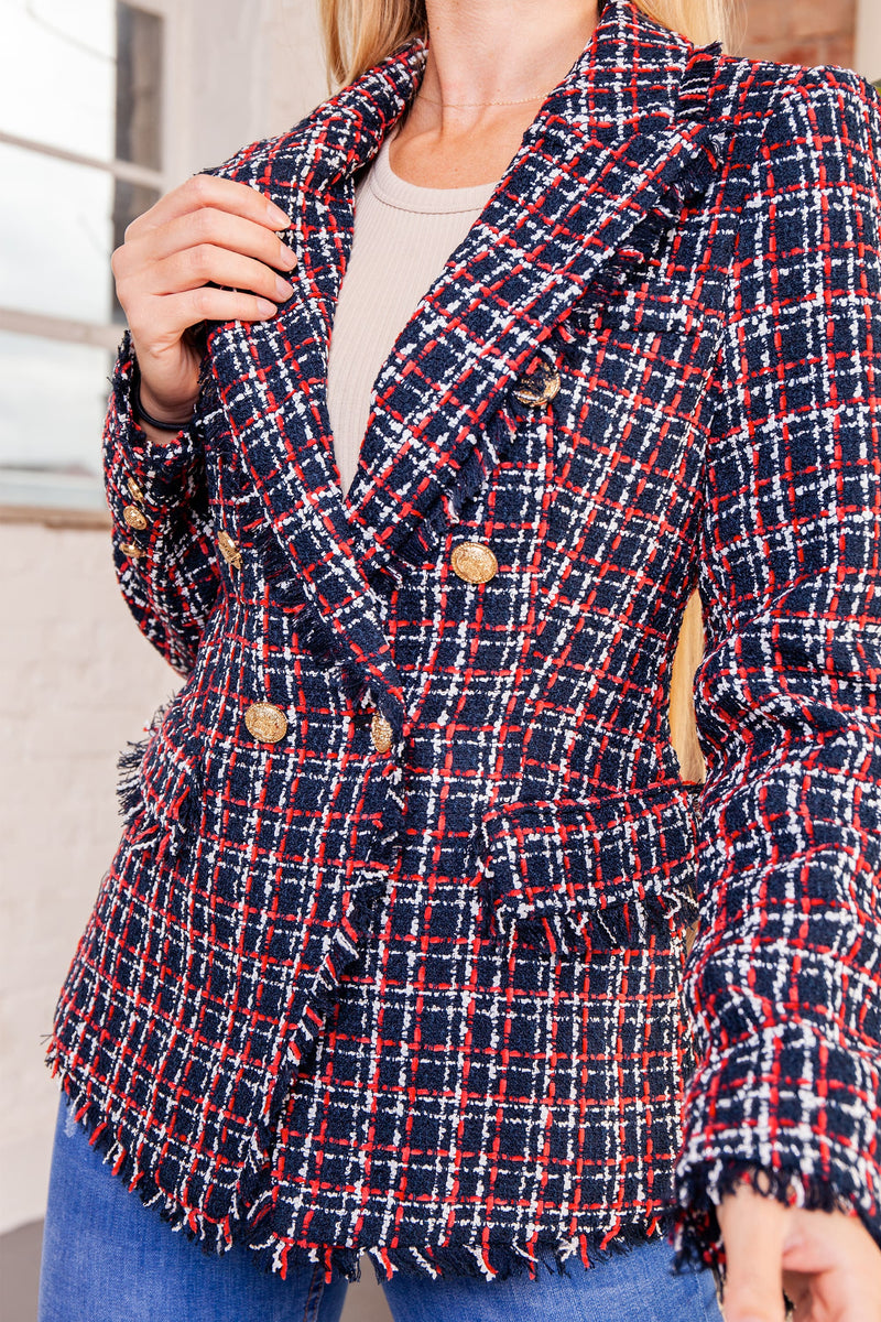Red Tweed Button Blazer