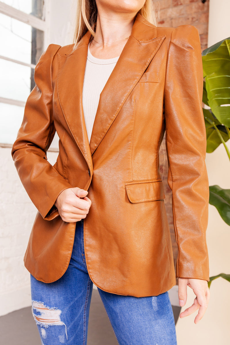 Brown Leather Button Up Blazer