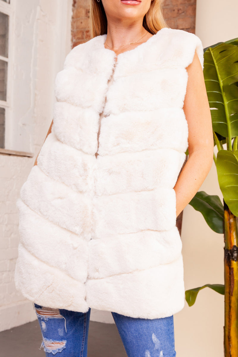 White Faux Fur Gilet
