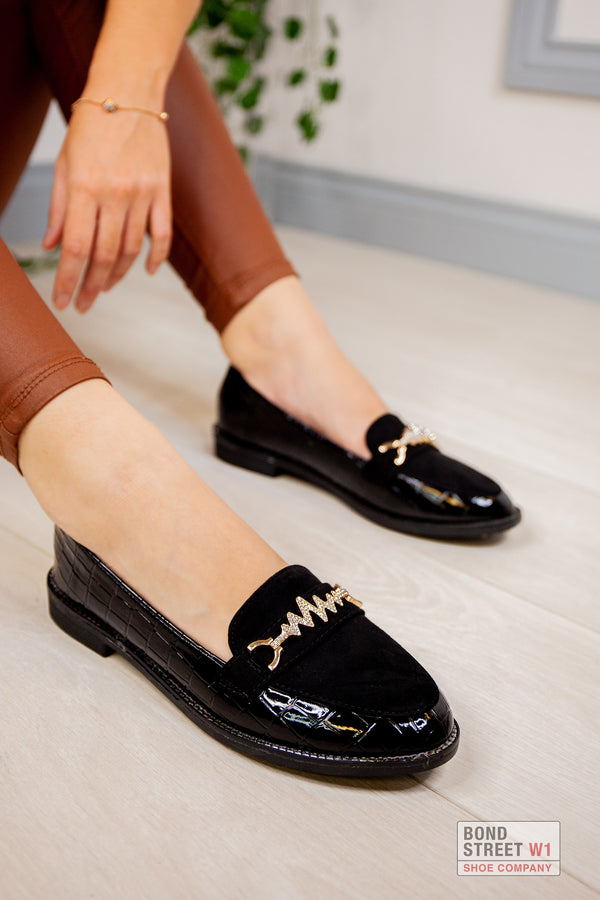 Black Embellished Patent Loafer