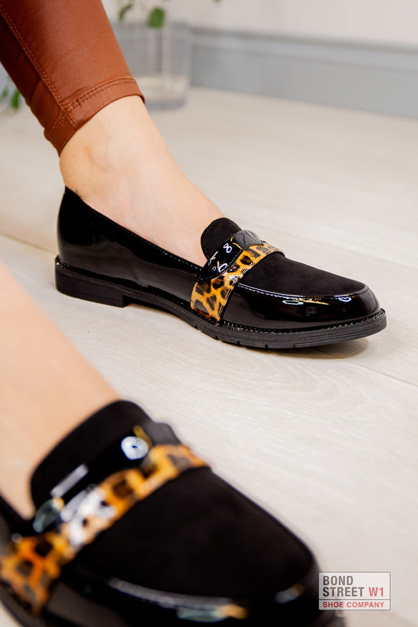 Black Leopard Patent Loafer