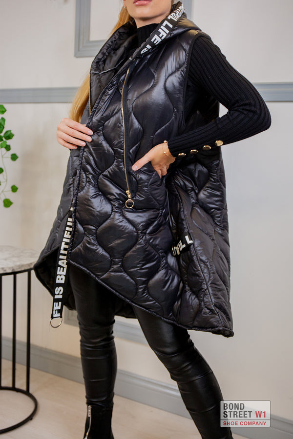 Willow 'Life Is Beautiful' Black Gilet Puffer