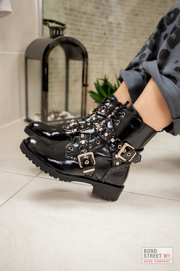 Patent Gold Buckle Biker Boot