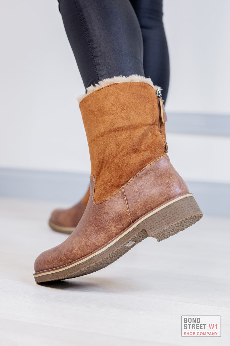 Tan Faux Fur Boot