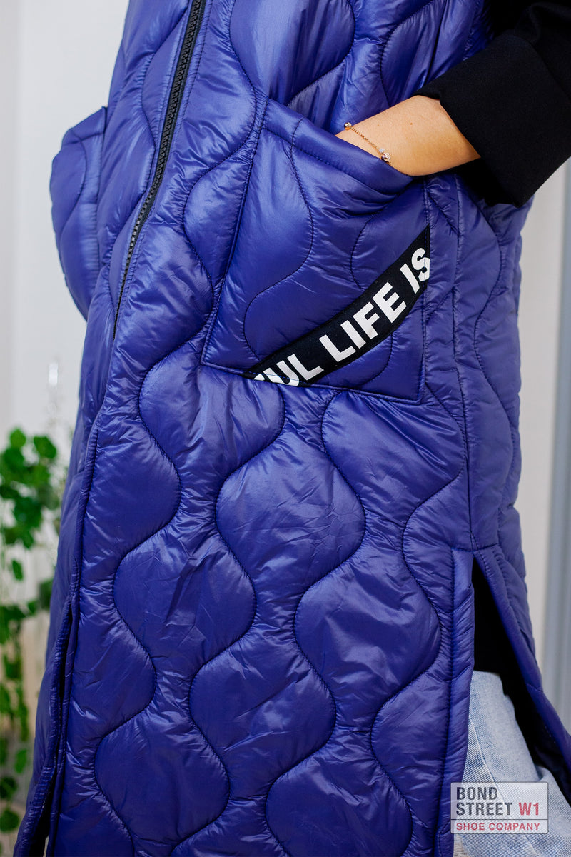 Blue Extra Long Gilet Puffer