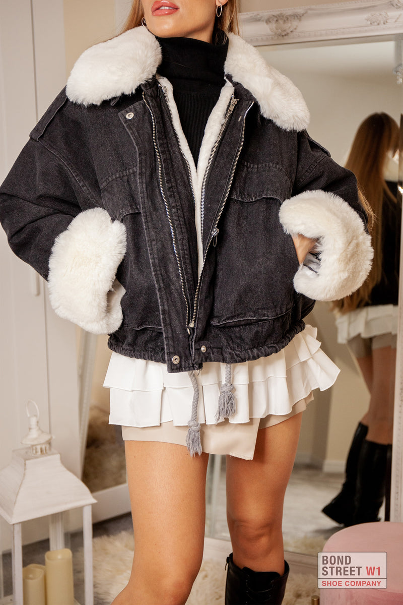 Black Denim Faux Fur Jacket