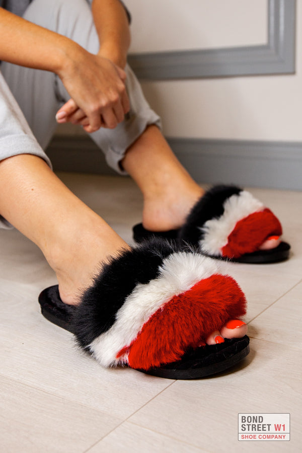 Red/White Fur Slippers