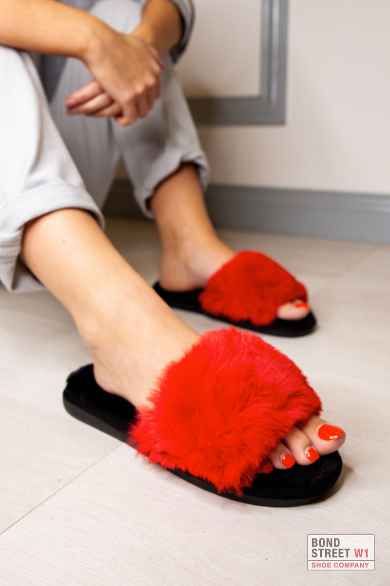 Red Fur Slippers