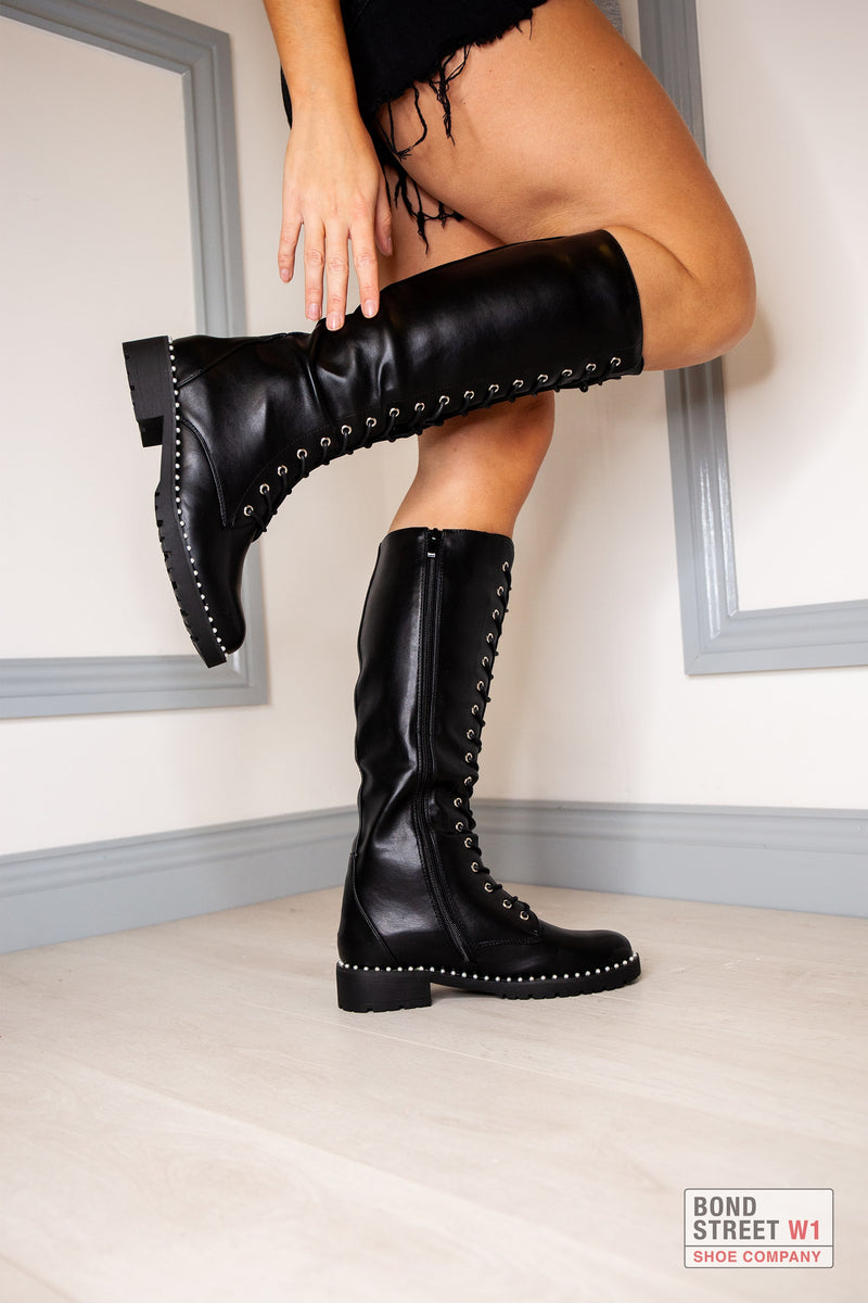 Lace Up Black Slim Fitting Knee High Boot