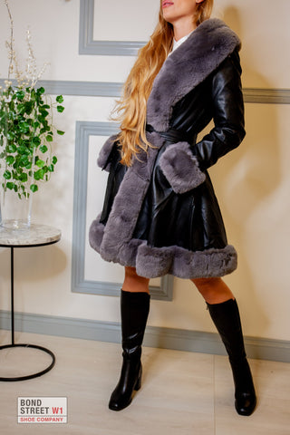 Black Fur Puffer Jacket