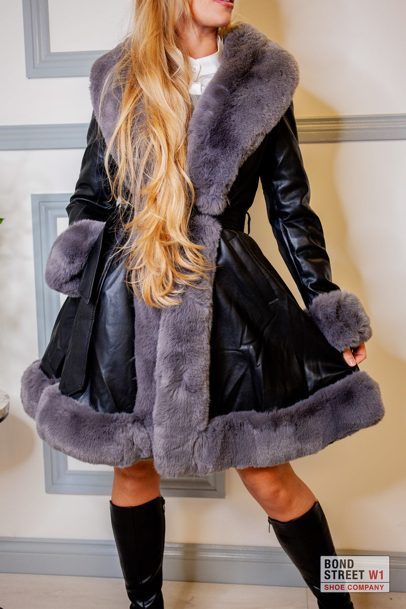 Grey/ Black Faux Fur Jacket