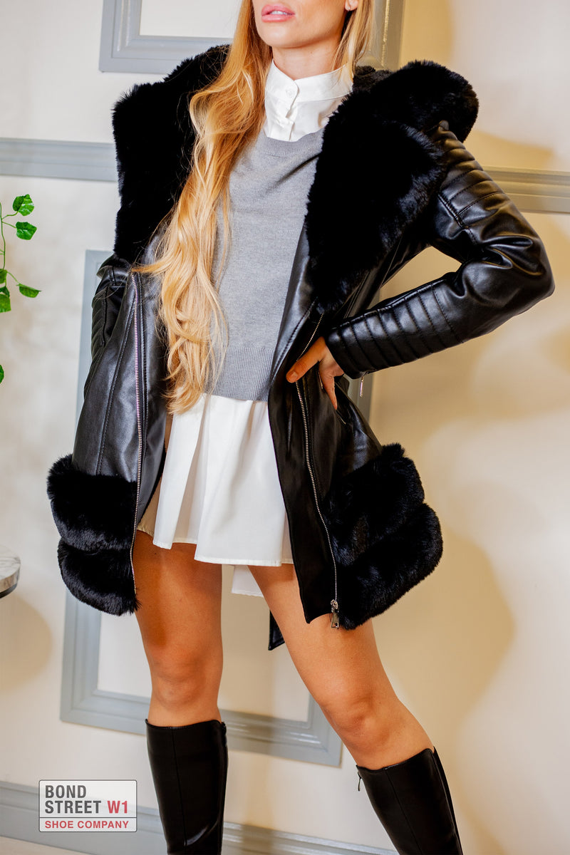 Black Tiered Faux Fur Jacket