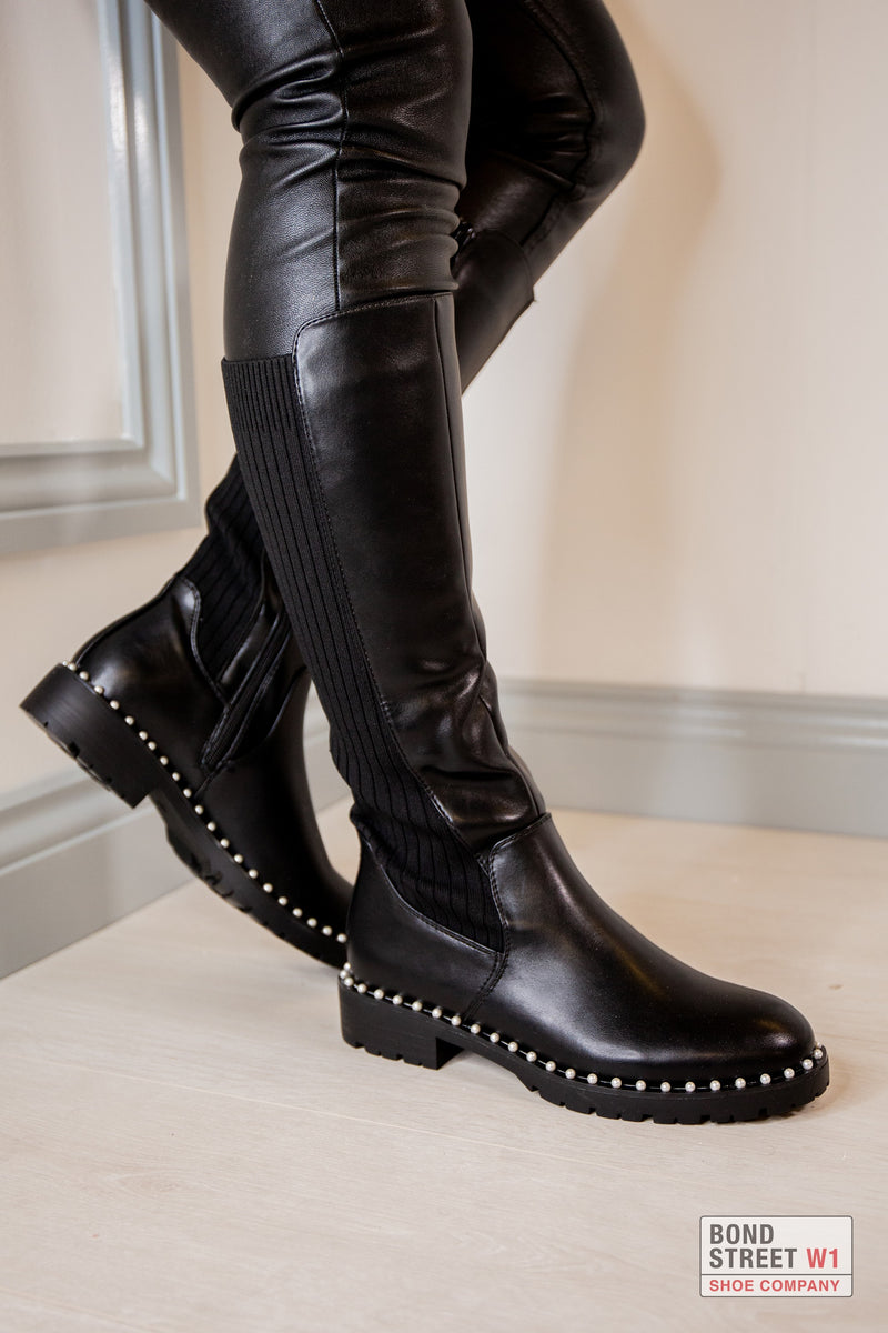 Slim Calf Knee High Studded Boot