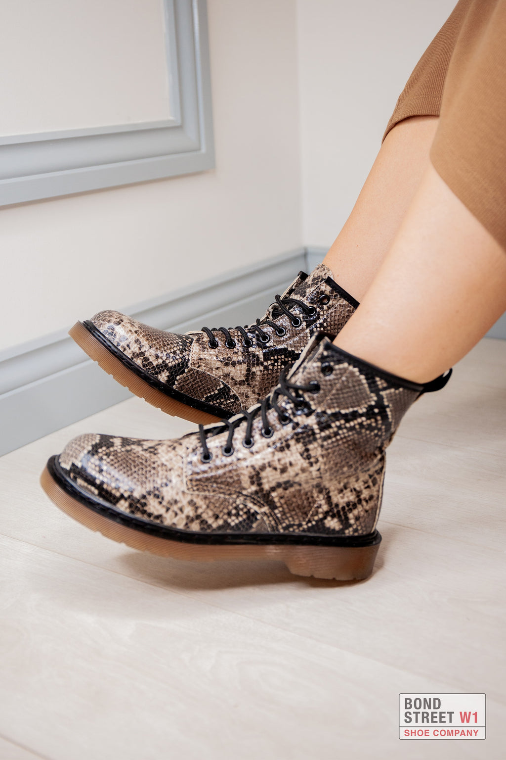 Snake Print Lace Up Boot