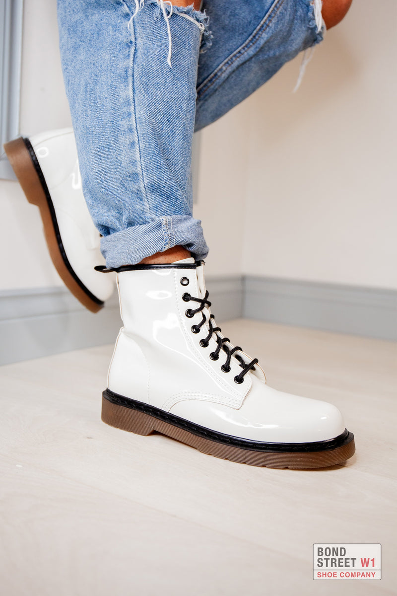 White Patent Lace Up Boot