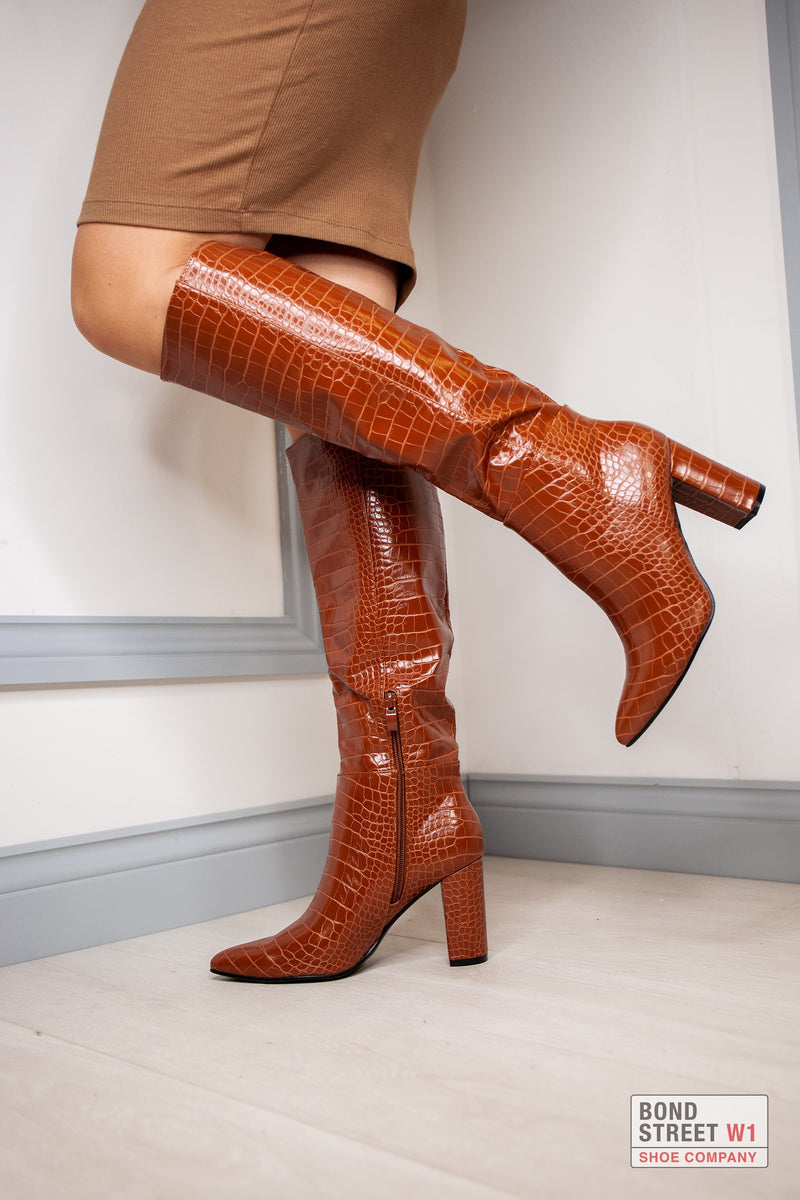 Tan Croc Leather Knee High