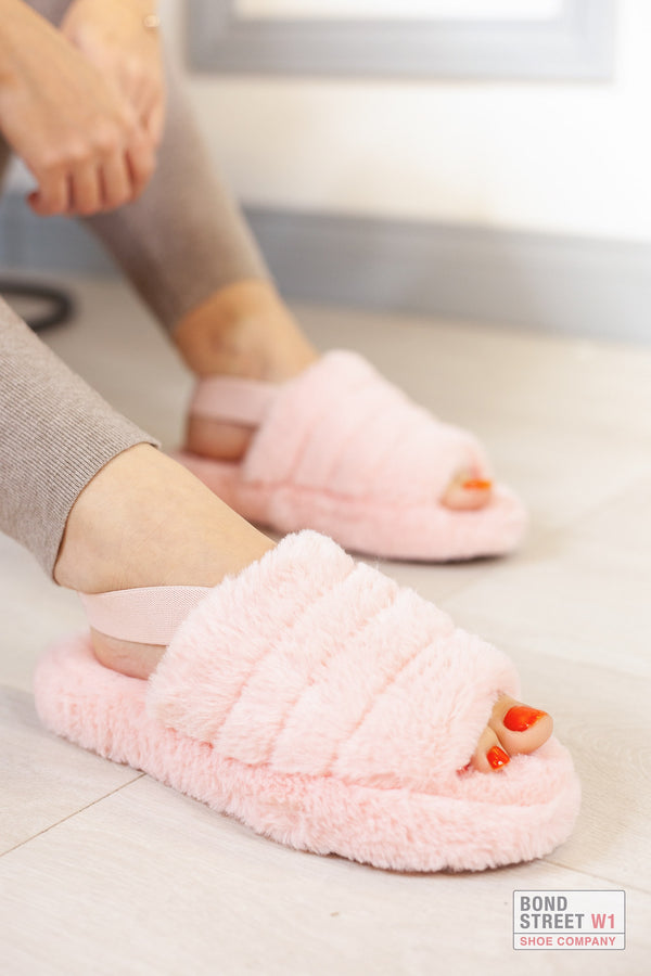 Thick Pink Strap Slippers