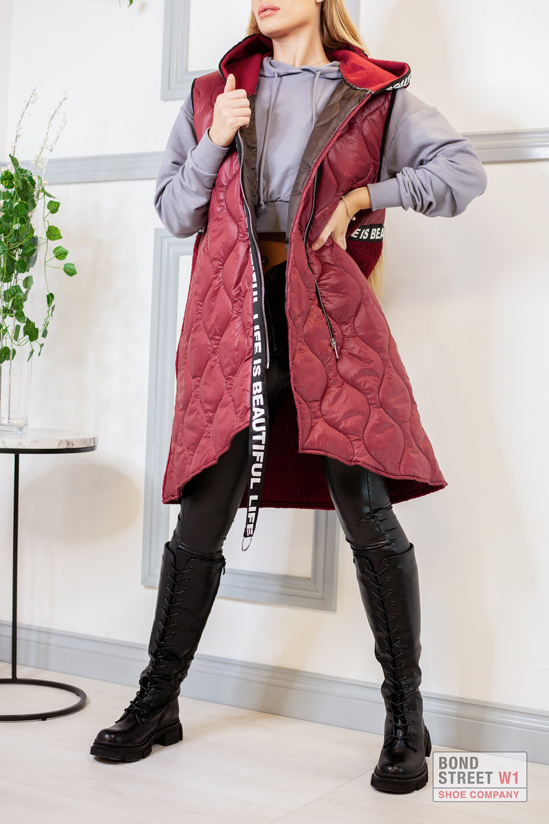 Maroon Panel Gilet Puffer