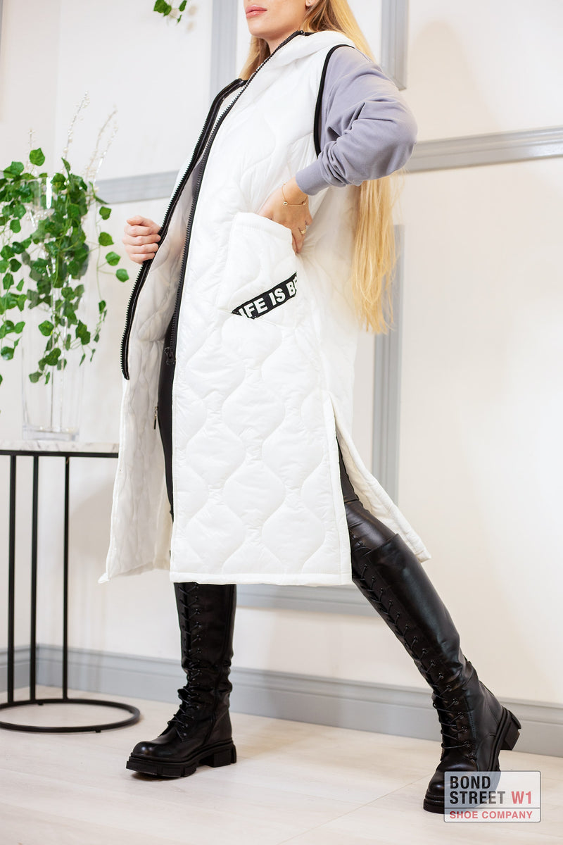 White Extra Long Gilet Puffer