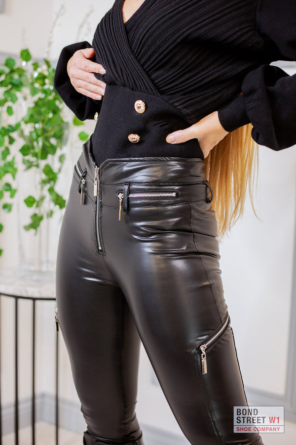 High Waisted Biker Leggings With Zip silver