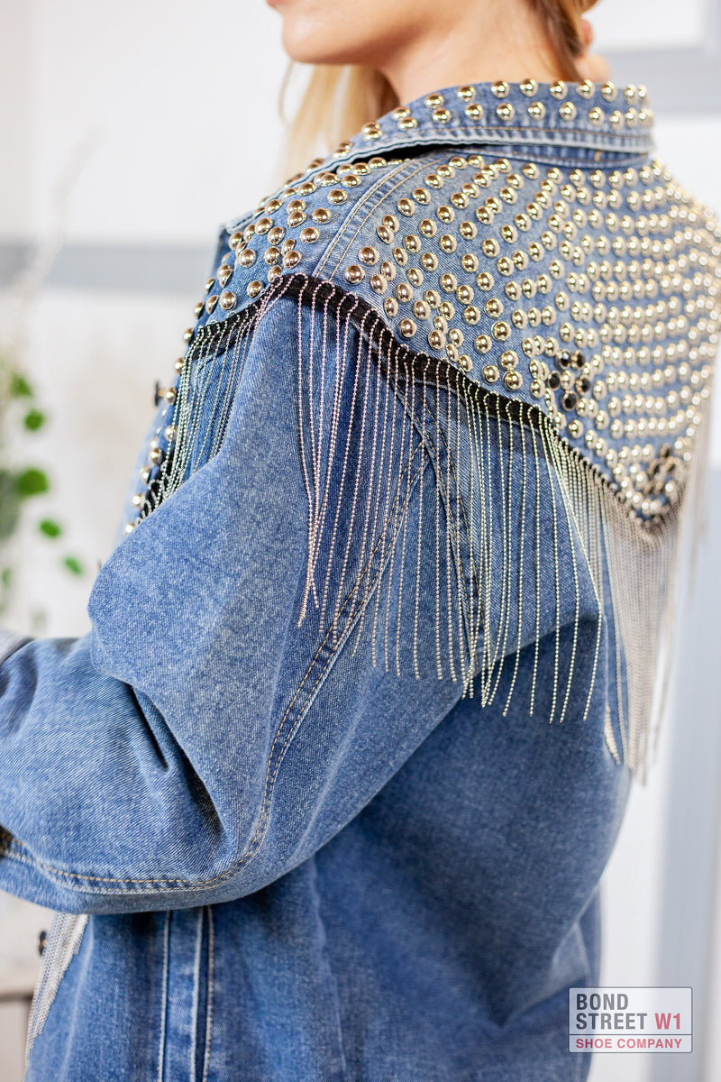 Blue Denim Tassel Jacket