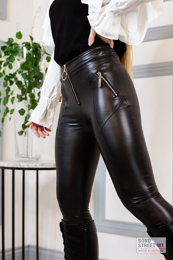 High Waisted Biker Leggings With Gold Zip Detail