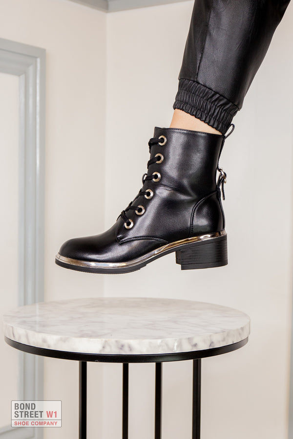 Black Block Heeled Lace Up Boot