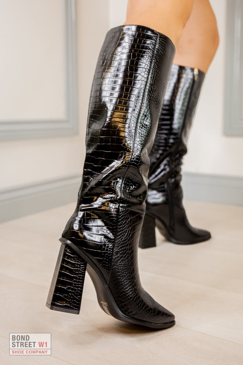 Black Croc Square Faux Leather Knee High