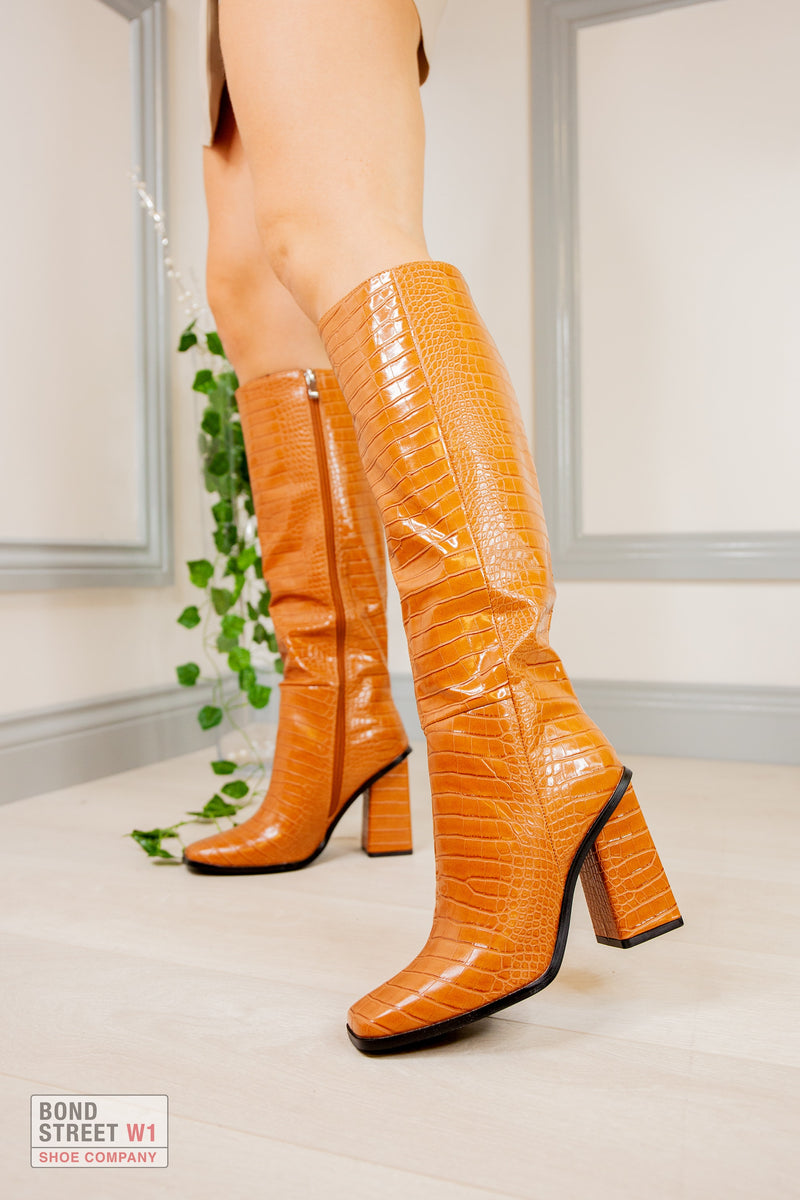 Orange/ Brown Croc Square Faux Leather Knee High