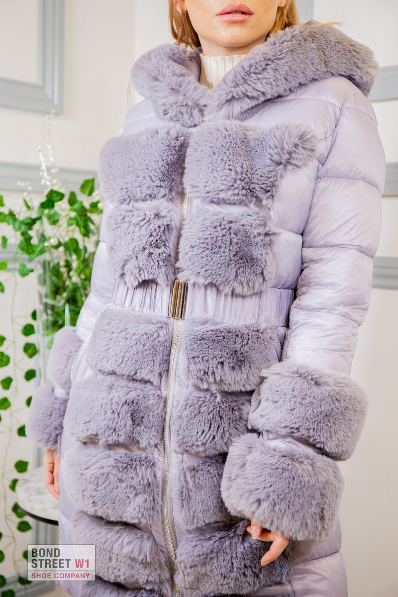 Luxe Faux Fur Puffer Grey/ Lilac