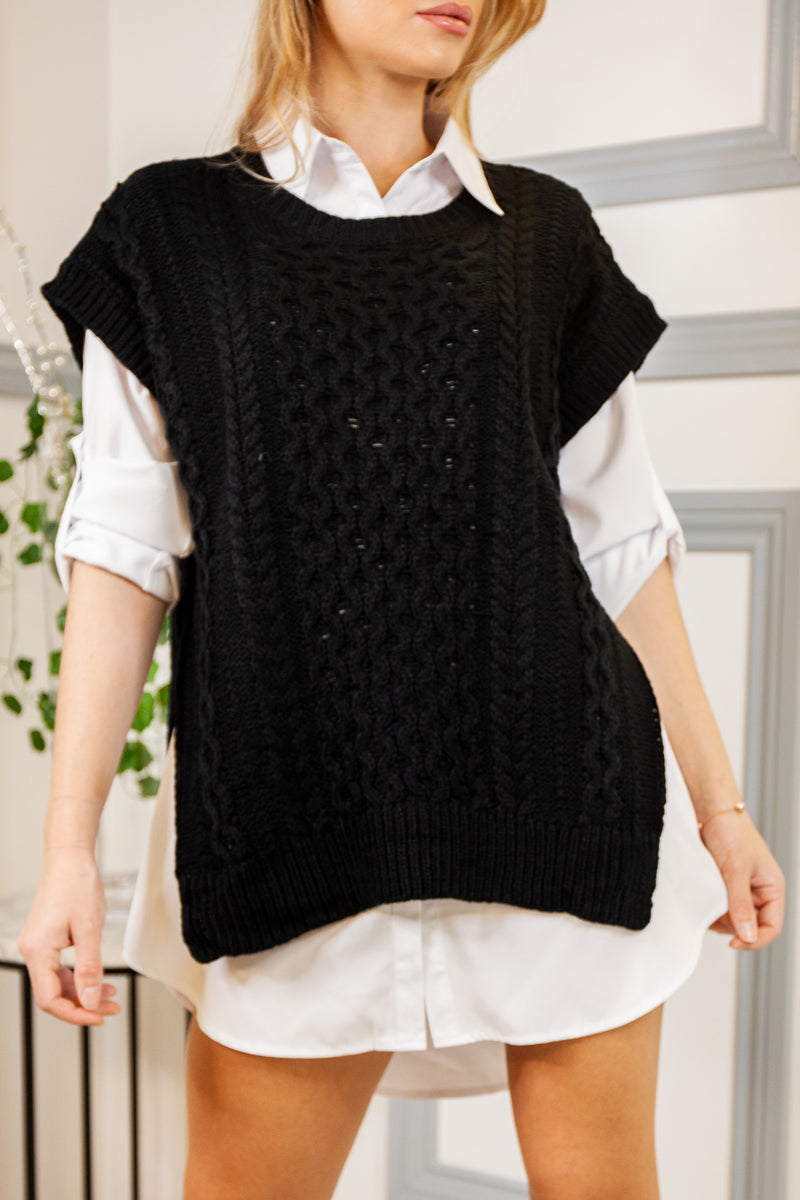 Black Cable Knit Shirt Jumper