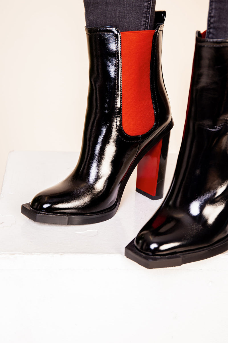 Red/ Black Patent Heeled Boot