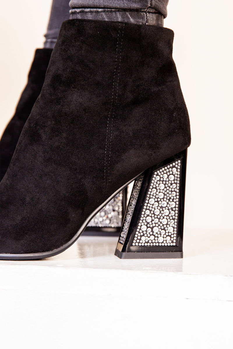 Black Suede Embellished Boot