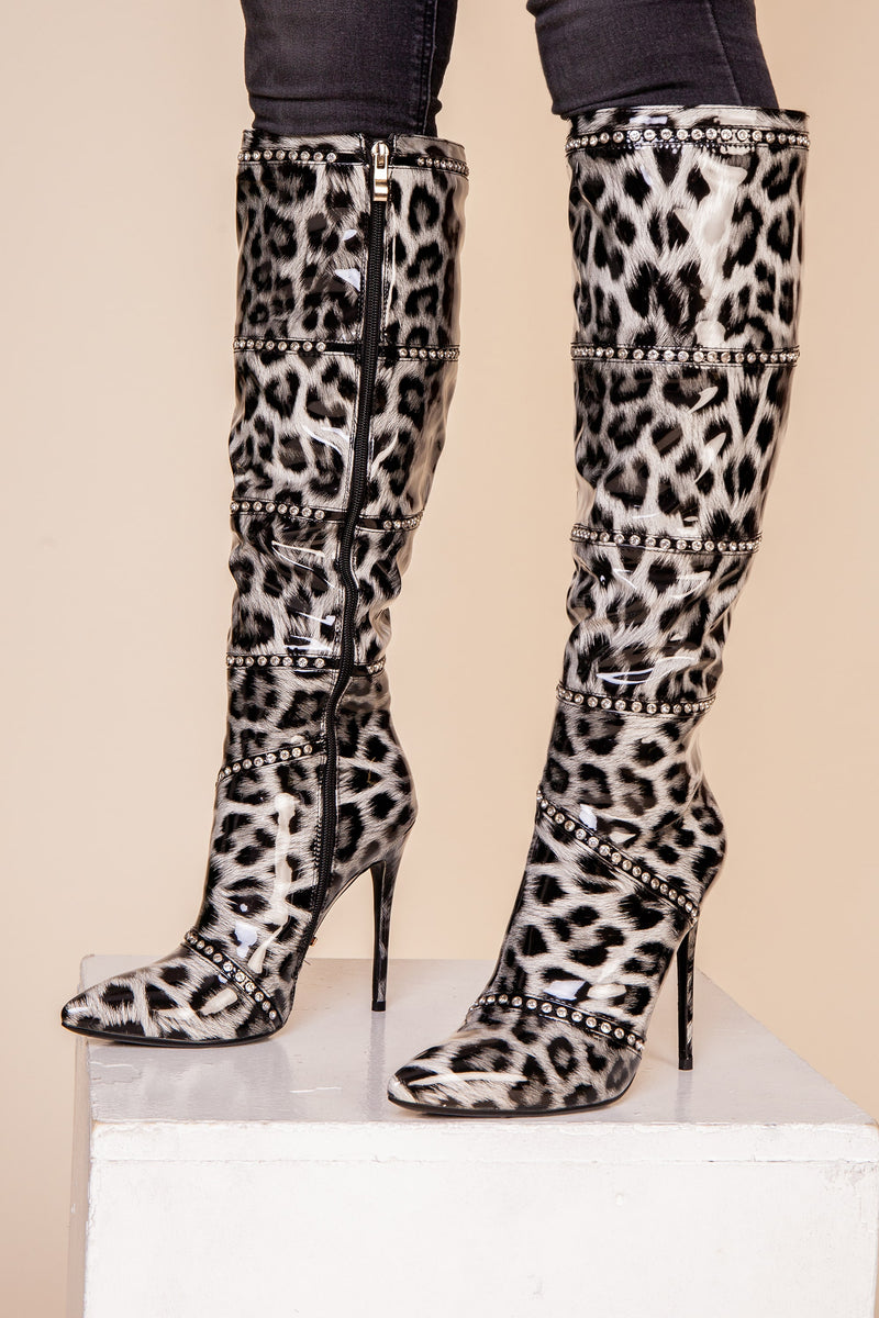 Black Leopard Over Knee Boot