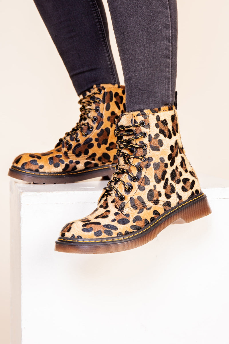 Leopard Print Lace Up Boot