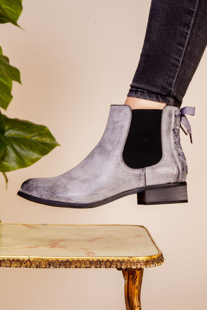 Grey Bow Boot