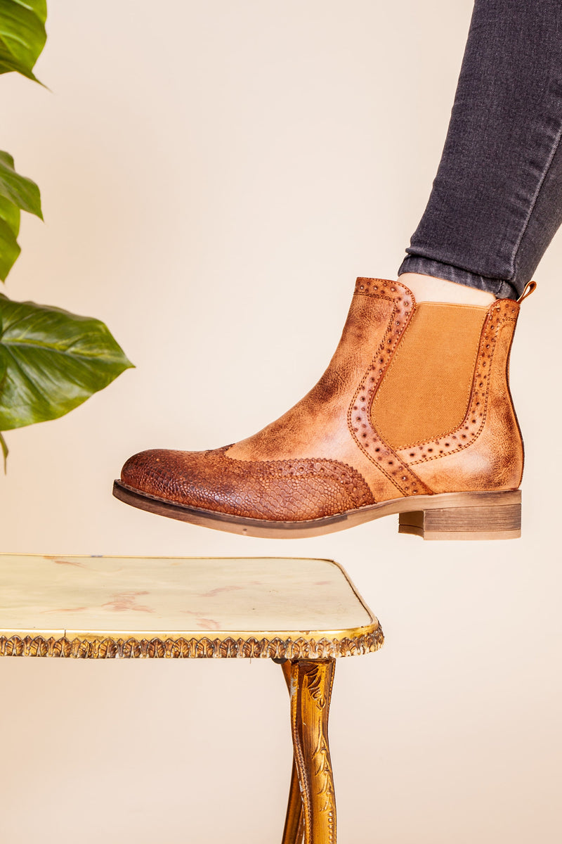 Camel Brogue Detail Boot