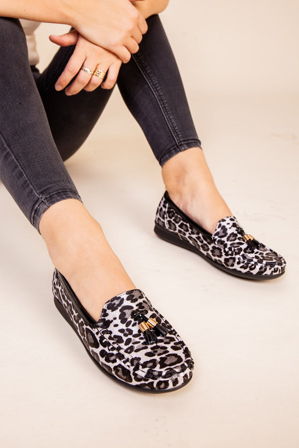 Black Leopard Soft Loafer