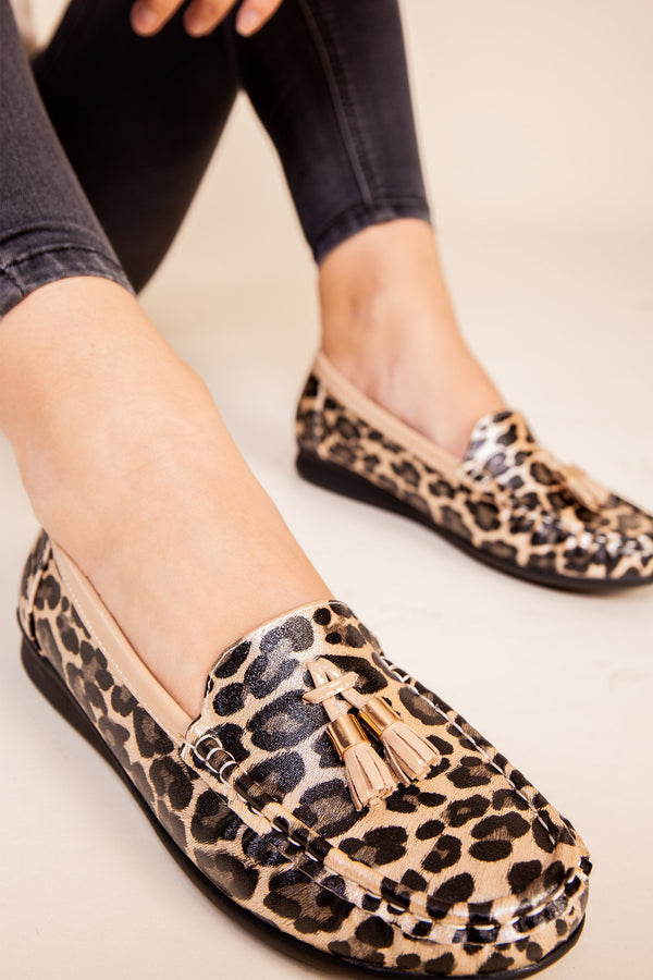 Beige Leopard Soft Loafer
