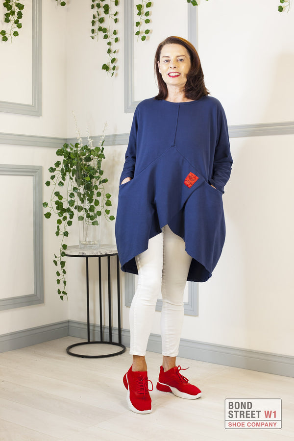 Red Label Tiered Sweat Top Navy