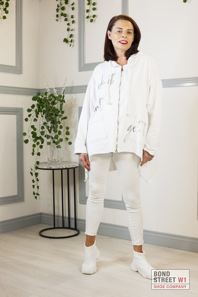 Eve White Tiered Zip Up Sweatshirt