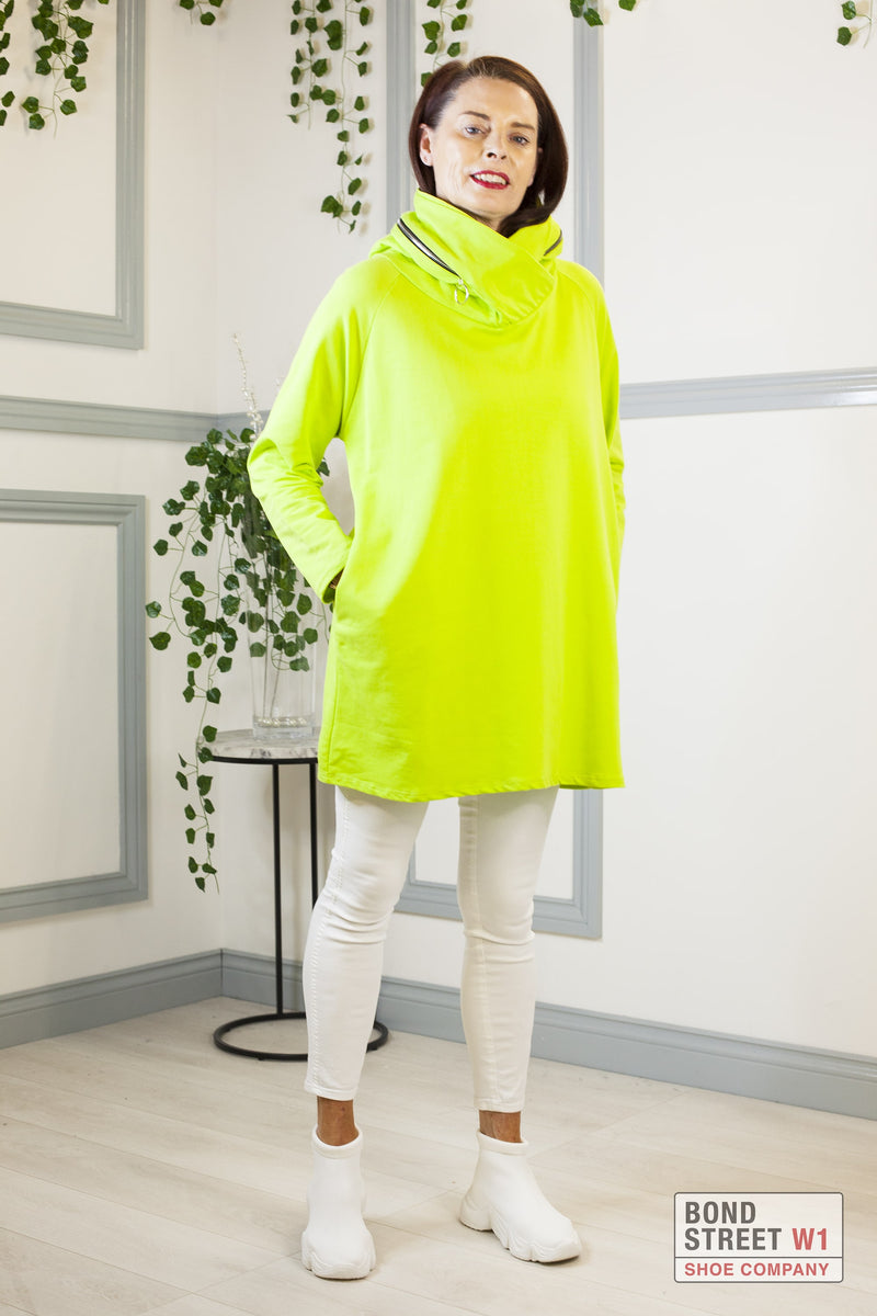 Elisa Neon Scoop Neck Zip Sweat