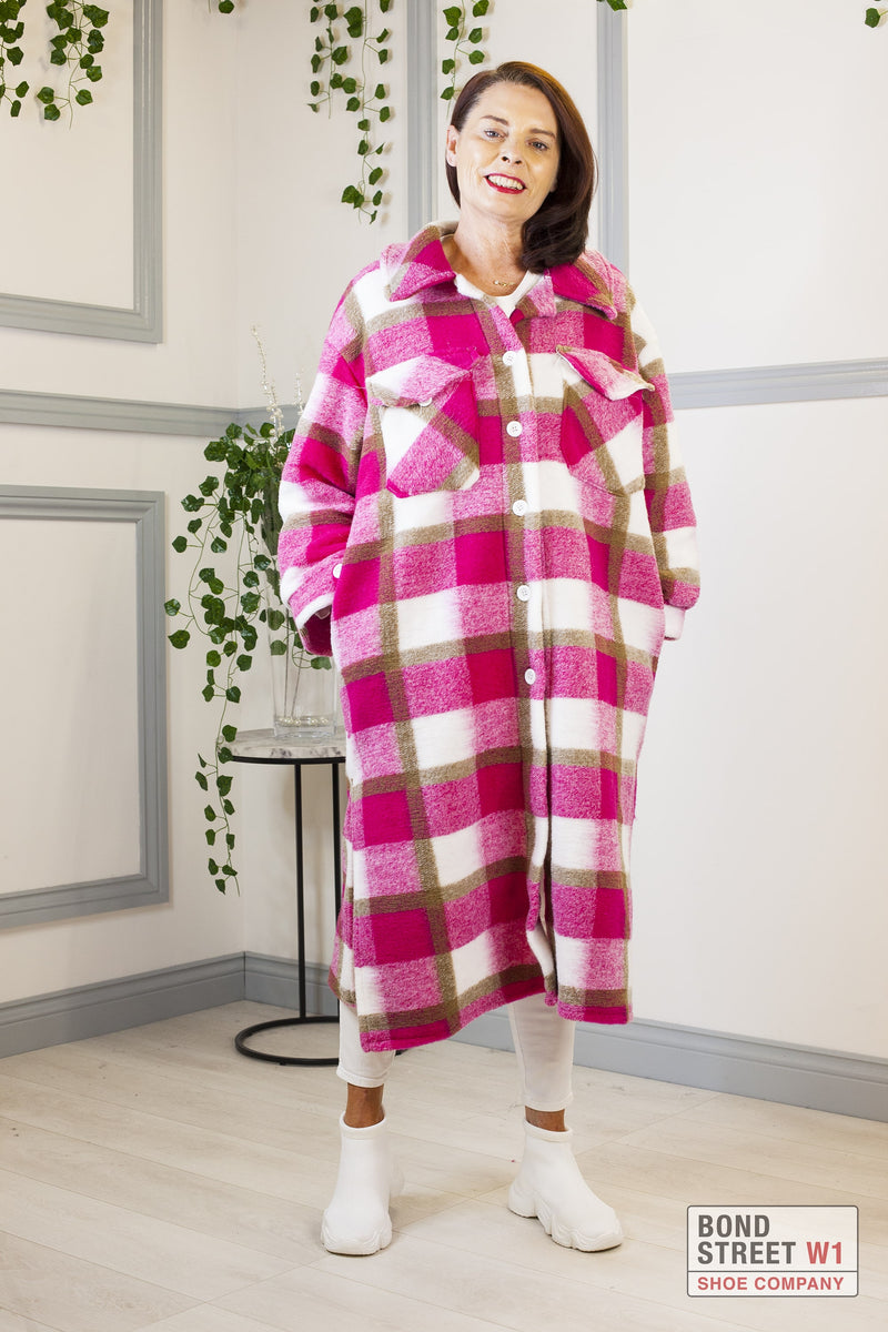 Pink Checkered Faux Wool Jacket