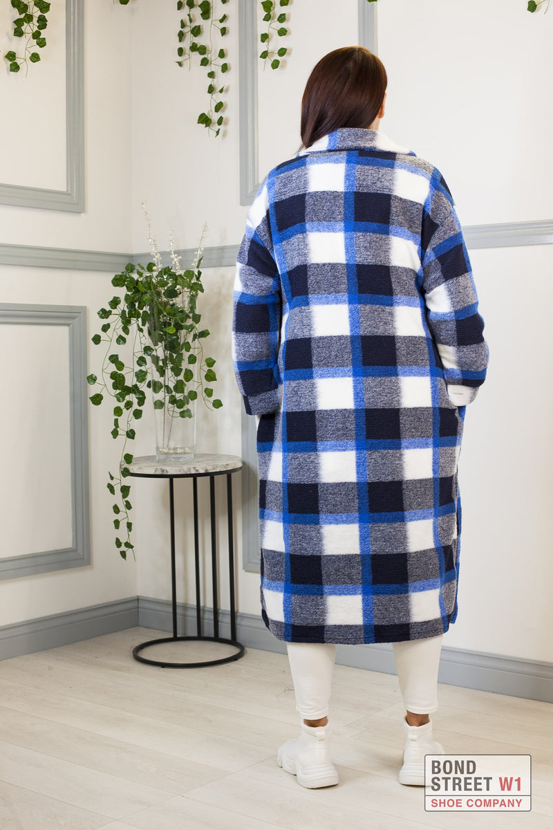 Blue Checkered Faux Wool Jacket
