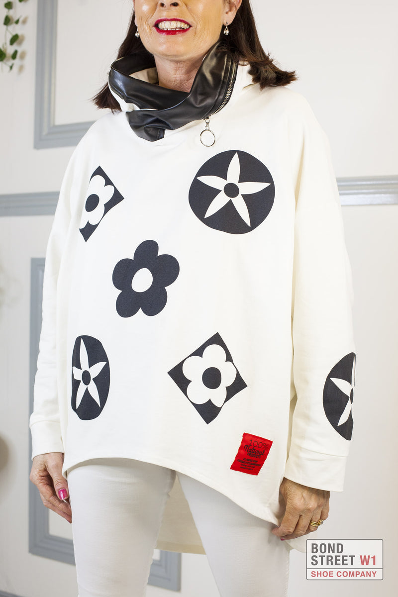 Isabelle Red Label White/ Cream Hooded Sweat Top