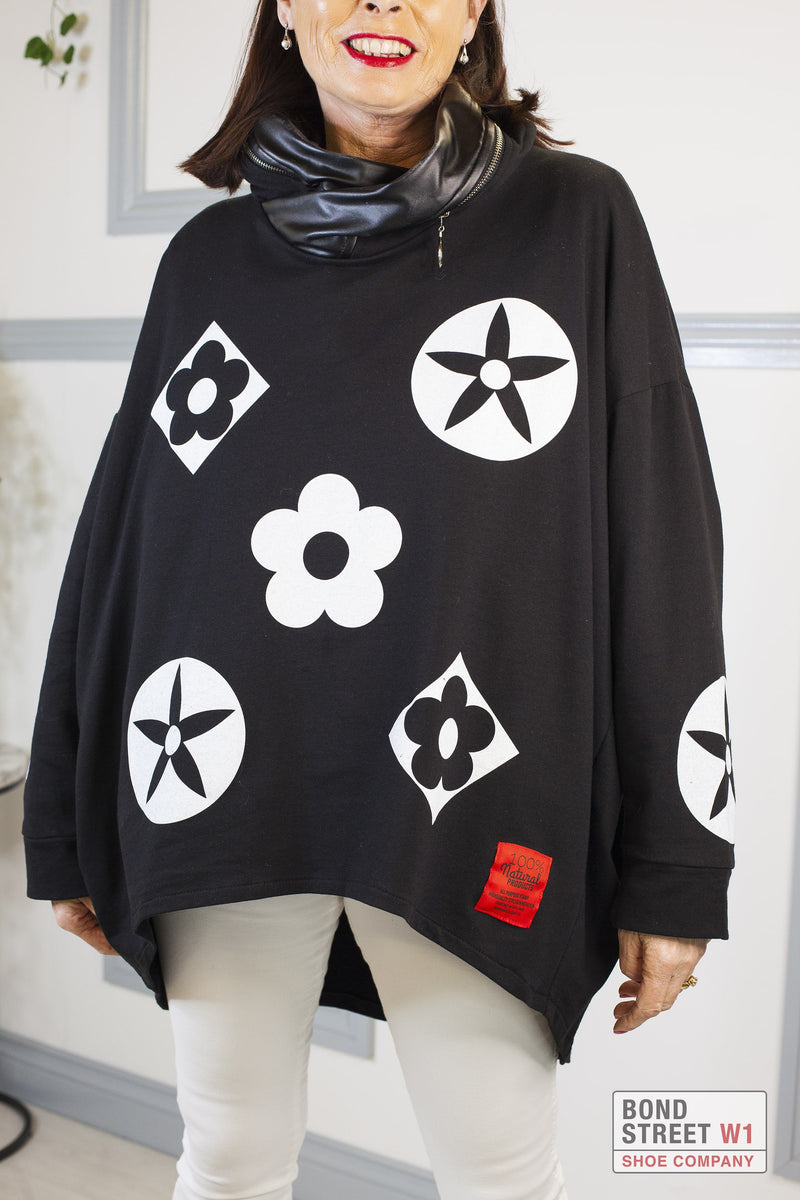 Isabelle Red Label Black Hooded Sweat Top