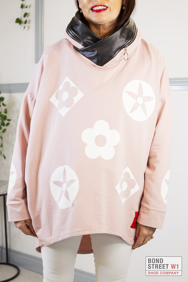 Red Label Light Pink Hooded Sweat Top