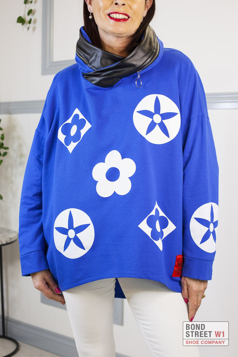 Isabelle Red Label Royal Blue Hooded Sweat Top