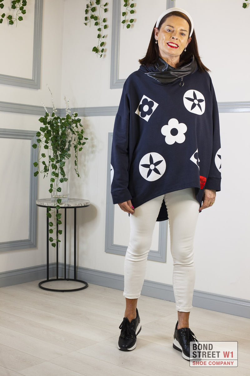 Isabelle Red Label Navy Hooded Sweat Top