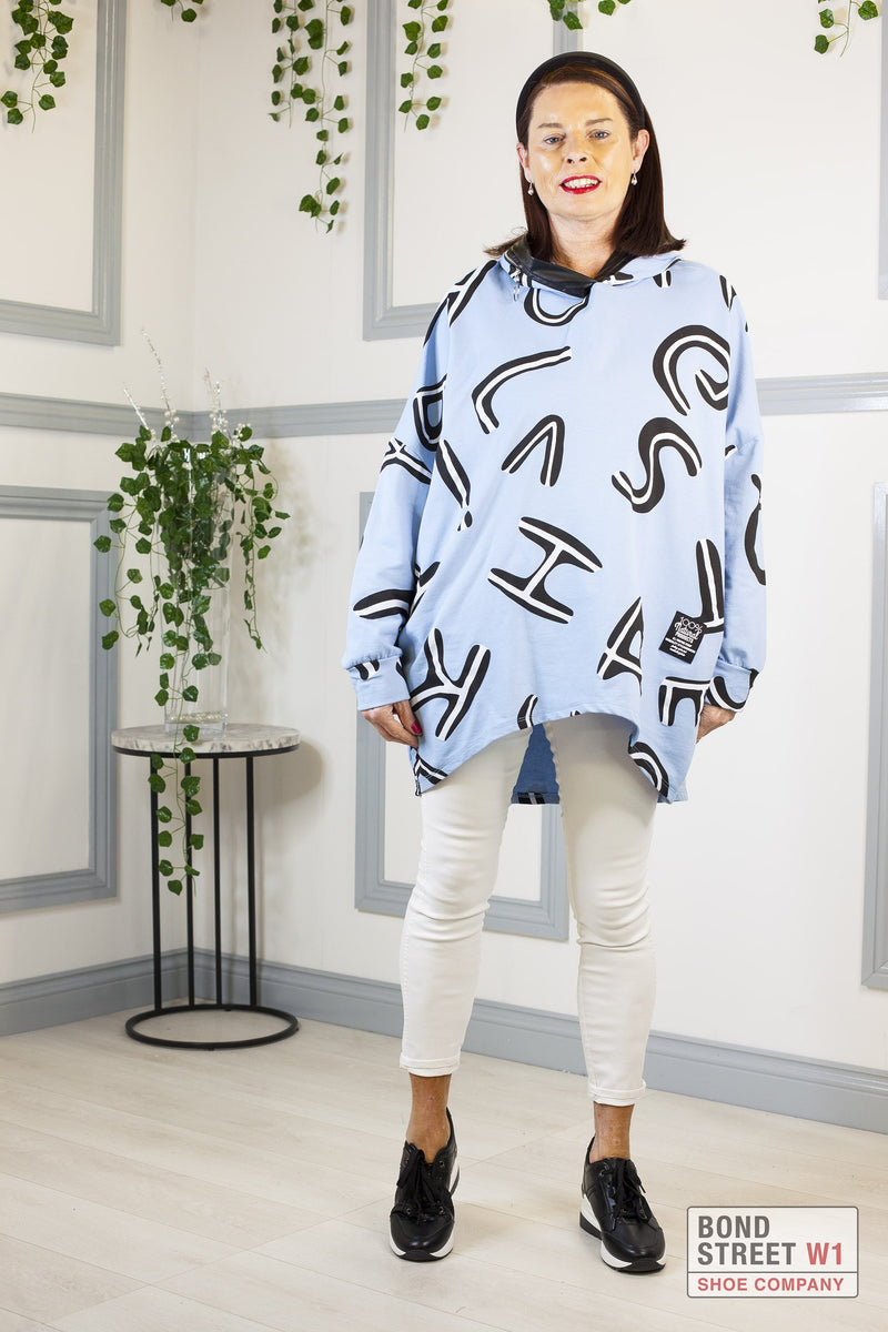 Carla Letters Light Blue Hooded Sweatshirt